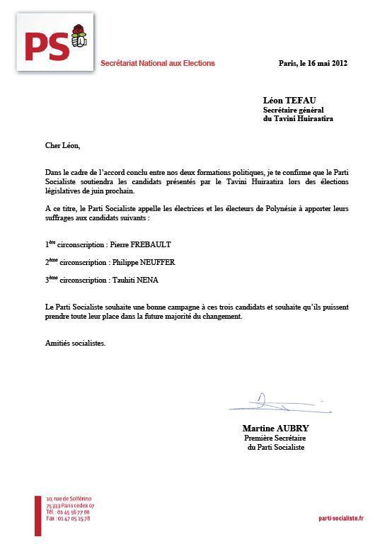 Martine Aubry invite les militants du PS à soutenir les candidats du Tavini Huiraatira-UPLD