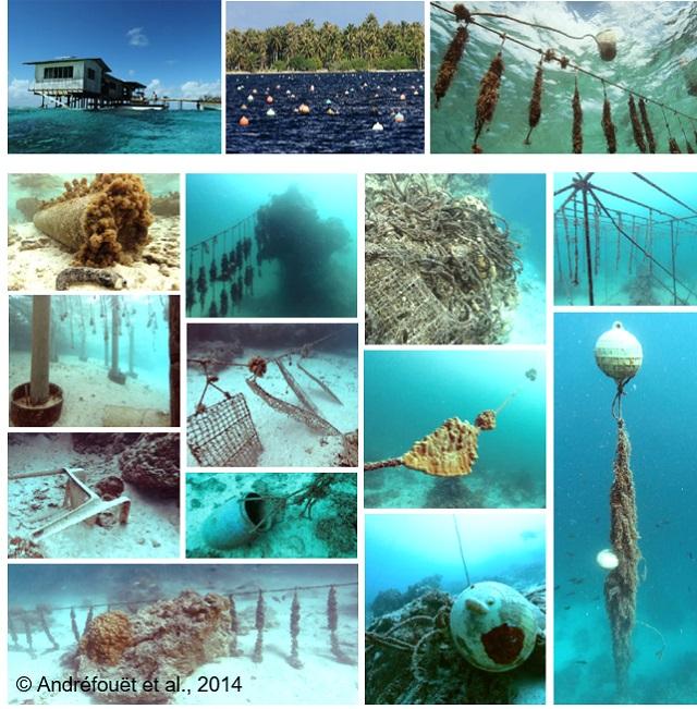 Photos du chercheur de l'IRD Serge Andréfouët  prises en 2014, faisant l'état des lieux de la pollution en macroplastiques (gros déchets). On y voit une ferme opérationnelle (les 3 photos du haut), et les différentes structures d'élevages qu'on peut retrouver au fond des lagons (les photos du bas) dans l'atoll de Ahe.