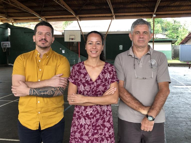 Cécile Gilroy, présidente de la FAPF depuis octobre dernier, entourée par son secrétaire général Peter Meuel (à gauche) et son trésorier Moana Kervella (à droite).