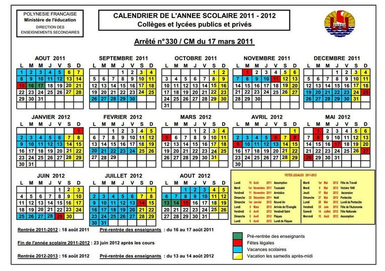 calendrier scolaire americain