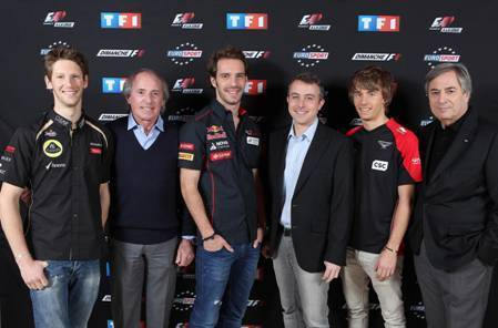 Romain Grosjean (Lotus F1 Team), Jacques Laffite, Jean-Eric Vergne (Scuderia Toro Rosso),  Christophe Malbranque, Charles Pic (Marussia F1 Team) et Jean-Louis Moncet - TF1 / Nils HD