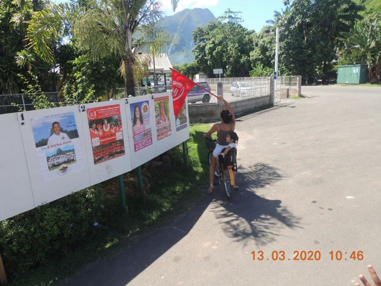 Photo de la campagne électorale à Moorea, partagée sur Facebook par Lydia Vahineura Néti Hanere