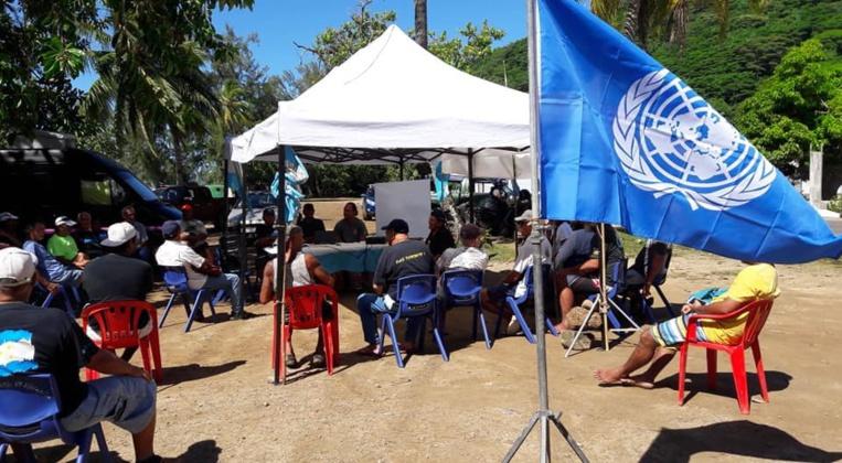 Le drapeau de l'ONU était brandi haut par la liste Tavini Huiraatira no Moorea-Maiao. Elle échoue à quelques voix.