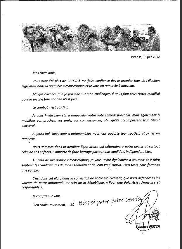 Lettre d'Edouard Fritch