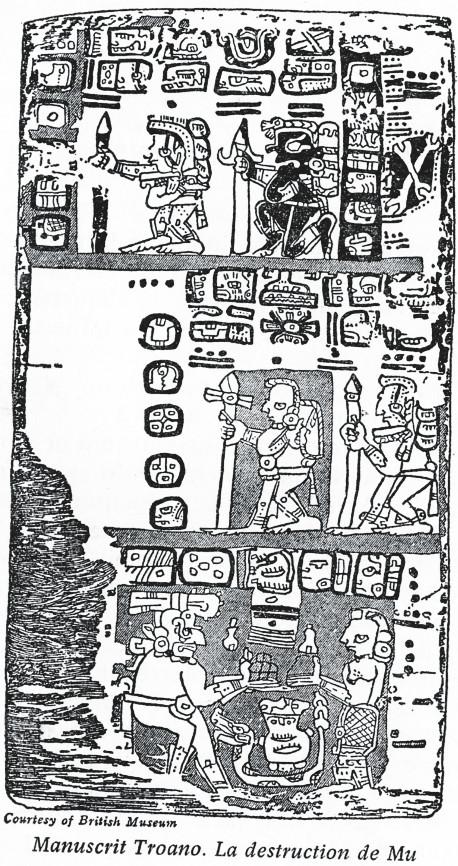 Sur les glyphes mayas conservés au British Museum, Churchward prétendit avoir lu l'histoire de la brève et brutale destruction de Mu.