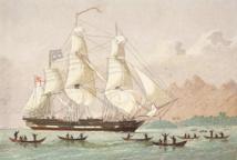 Le célèbre Duff, le bateau qui amena les missionnaires de la London Missionary Society dans le Pacifique Sud, au terme d'un épuisant voyage.