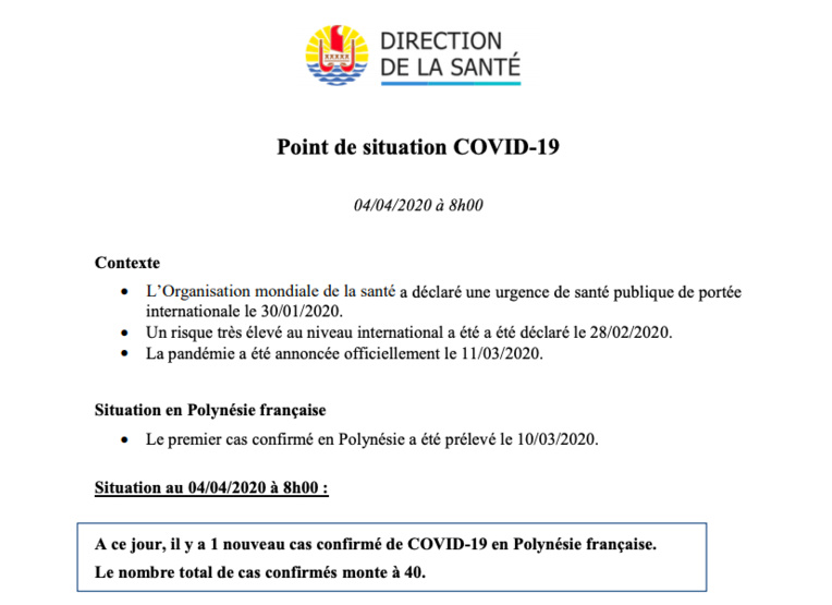 Un nouveau cas de coronavirus samedi