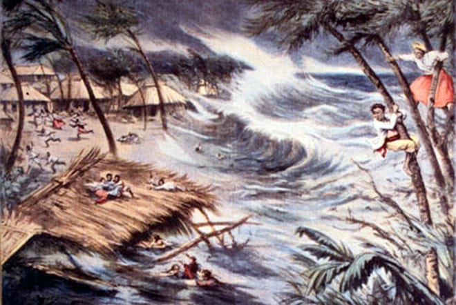Ce dessin a fait la couverture du magazine L'Illustration après le passage du cyclone en 1906.
