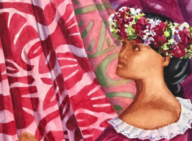 Cette année, le tifaifai est mis à l'honneur, habille les compositions très colorées, et occupe les artisanes qui figurent sur les aquarelles.