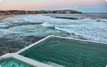Le cadavre d'une baleine dans une piscine sur une plage d'Australie