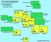 Vigilance jaune sur le centre et le Sud du fenua