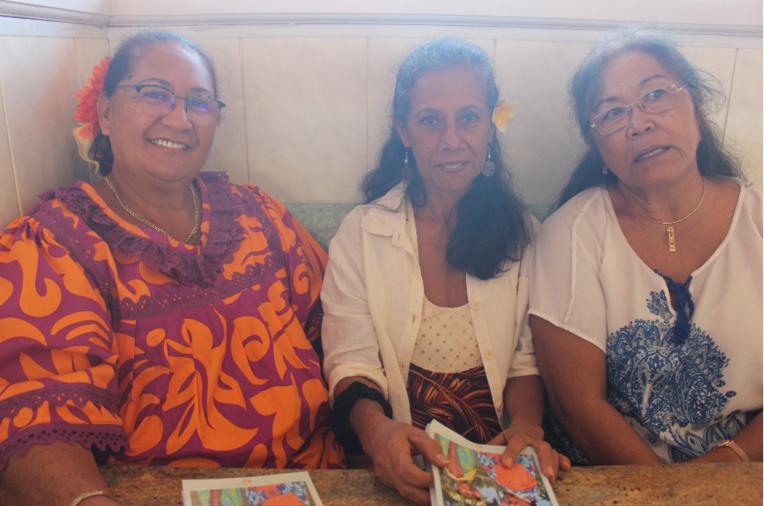 De gauche à droite : Ludmilla Moana Tapea, Christiane Tetahina Mare et Sylvia Vāhi Richaud.
