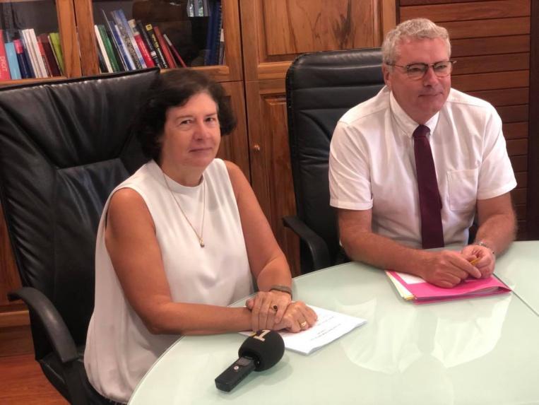 L'avocate générale Brigitte Angibaud et le procureur général près la cour d'appel de Papeete, Thomas Pison.