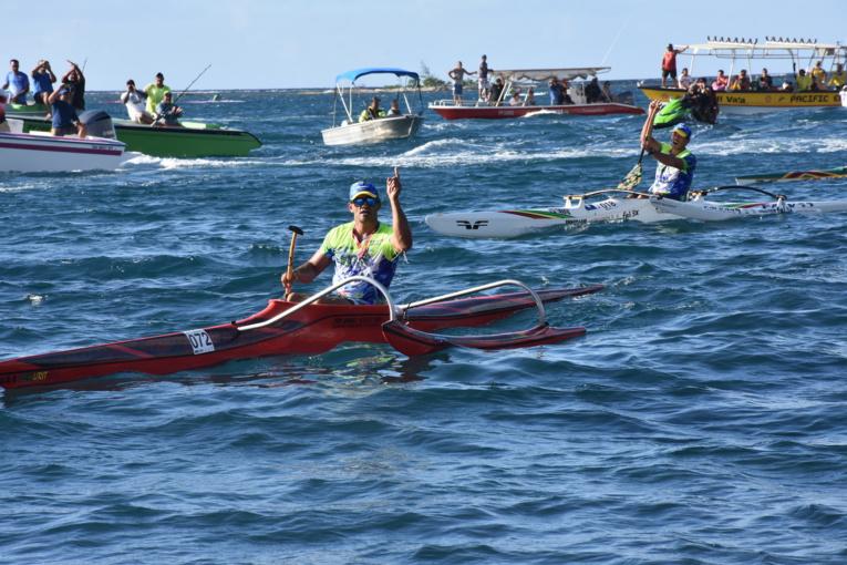 Steeve Teihotaata a du s'employer sur les dernières mètres de la course pour devancer Kyle Taraufau et Tutearii Hoatua.