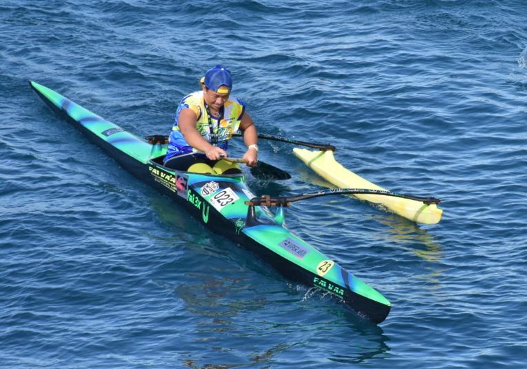 Vaimiti Maoni en retrait sur la première partie de course, a rattrapé son retard sur la remontée vers Taaone.