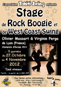 Danse: Stage de Boogie-Rock et West Coast Swing du 27 Octobre au 4 Novembre