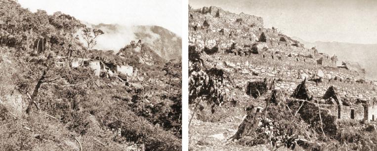 Deux documents exceptionnels, photos prises par Hiram Bingham lui-même en 1911 puis en 1912 :  on y voit le Machu Picchu tel qu'il apparut à l'explorateur américain puis tel qu'il était un an plus tard, après les premiers travaux de défrichement (National Geographic avril 1913. Col DP).