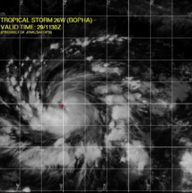 PHOTO Satellite et CARTE de localisation du cyclone Bopha (Source : Joint Typhoon Warning Centre, US Navy, Hawaii)