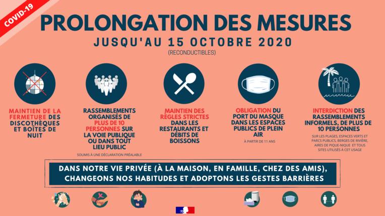 Les mesures sanitaires prolongées au 15 octobre