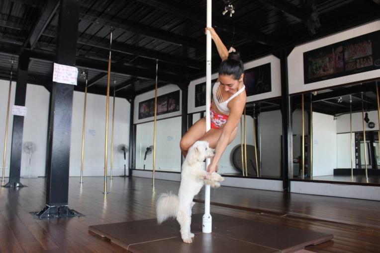 Le chien Iron, mascotte de l'école et Vaiana Mahinui, fondatrice de Tahiti pole art.