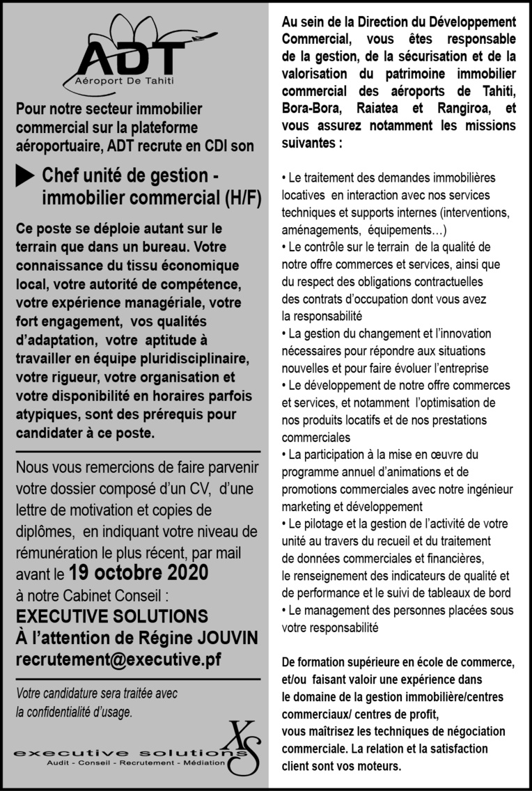 ADT RECRUTE UN CHEF UNITE DE GESTIONS - IMMOBILIER COMMERCIAL (H/F)