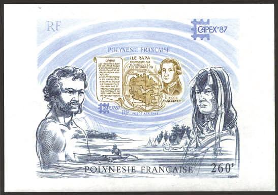 On doit à George Vancouver une découverte importante, l'île de Rapa dans l'extrême sud de l'actuelle Polynésie française. L'Office des postes lui a rendu hommage avec ce bloc.