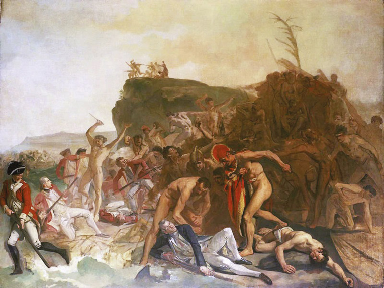 Le peintre Johann Zoffany n'a pas eu le temps d'achever cette toile illustrant la mort de James Cook le 14 février 1779. A l'époque, les Hawaiiens n'avaient pas encore d'armes à feu. Vancouver était présent lors du drame, il avait même été attaqué la veille.
