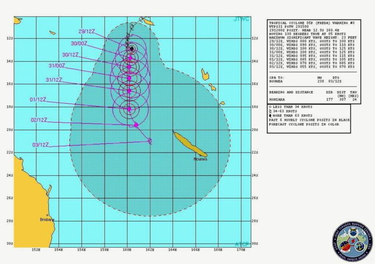 Trajectoire observée et anticipée du cyclone tropical Freda au 29 décembre 2012 à 21h00 GMT. (Source : centre régional d'alerte cyclonique de la marine américaine -Joint Typhoon Warning Centre, JTWC-)