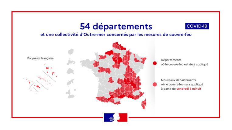 Avec 54 départements et la Polynésie française sous couvre-feu, 46 millions de Français sont concernés dès ce week-end.