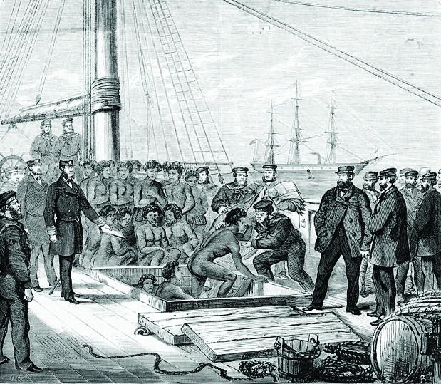 Le blackbirding était né en 1843 en Australie où certains planteurs avaient besoin de main-d'œuvre. On voit sur cette gravure représentant le Daphne en escale qu'il s'agissait plus de traite d'esclaves que d'embauches...