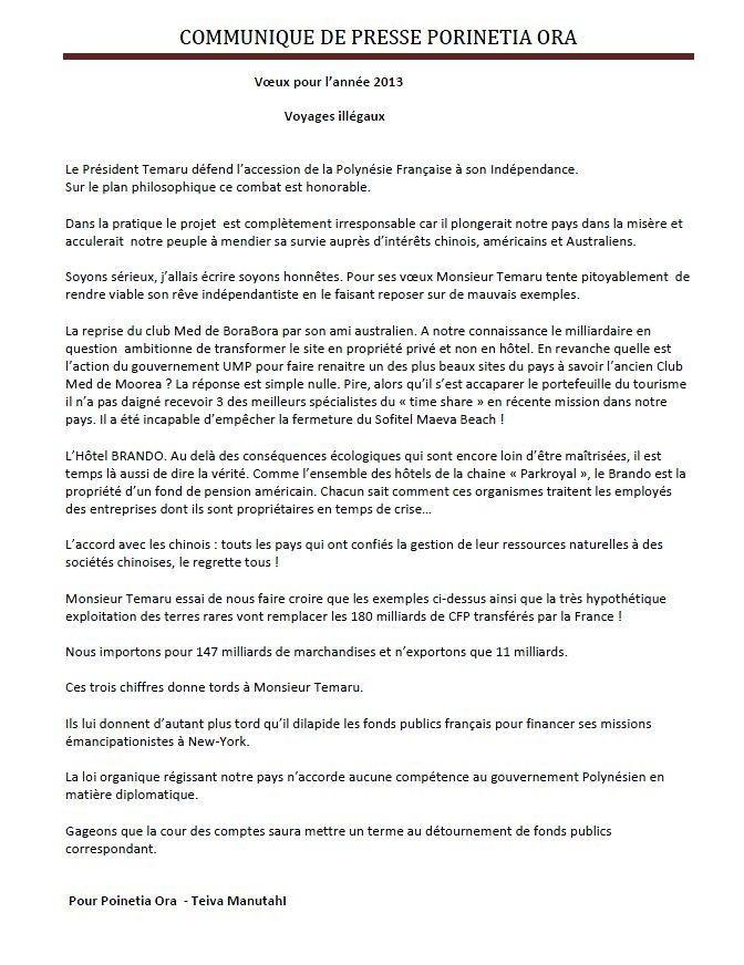 """Voeux de Porinetia Ora: """"Voyages illégaux"""""""
