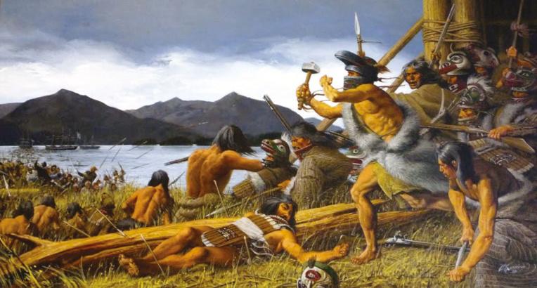 En installant soixante Kodiaques et son équipage sur les terres des Indiens Tlingits, de Roquefeuil sous-estima la réaction violente de ceux-ci, qui massacrèrent une vingtaine d'hommes; sur ce tableau la bataille de Sitka qui permit aux Russes de conforter leur implantation dans la région. Face aux Tlingits, ils eurent les pires difficultés.