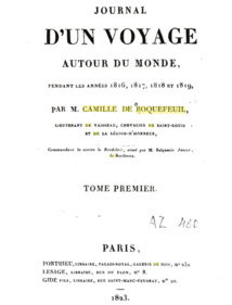 La première page de l'un des deux tomes que rédigea de Roquefeuil à son retour en France.
