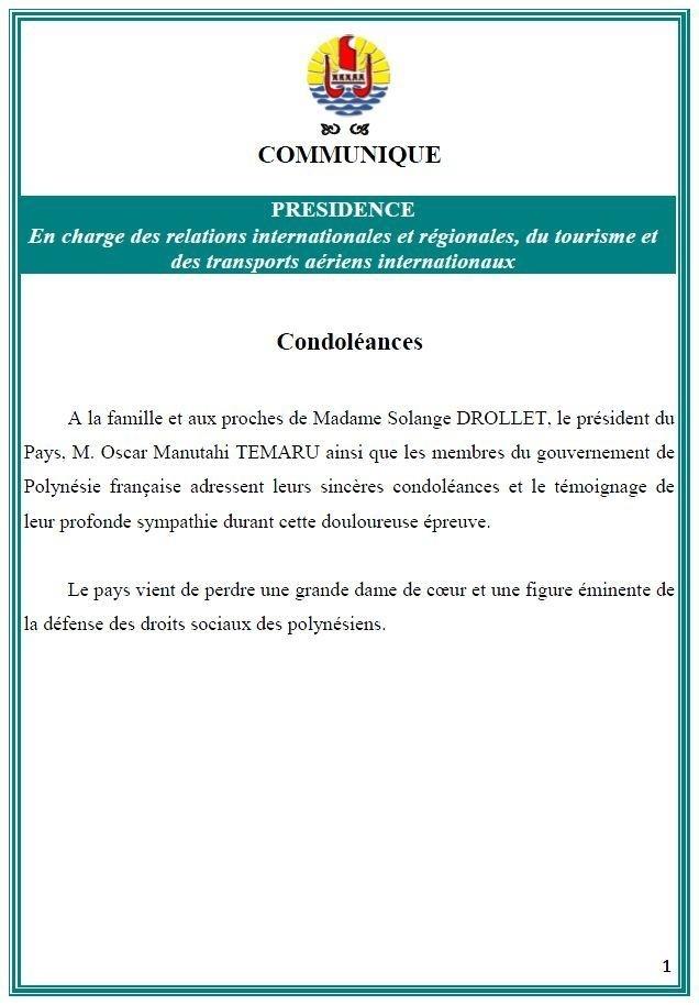Décès de Mme Solange DROLLET: condoléances