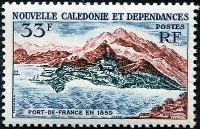 Sur cette vignette postale émise par les postes calédoniennes pour le centenaire de la ville, Port-de-France en 1859.