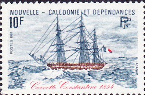 Hommage des postes calédoniennes à la corvette La Constantine commandée par Louis Tardy de Montravel.