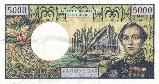 Sur nos billets de 5 000 Fcfp, c'est l'amiral Fébvrier Despointes qui avait été mis à l'honneur dans les territoires français du Pacifique.