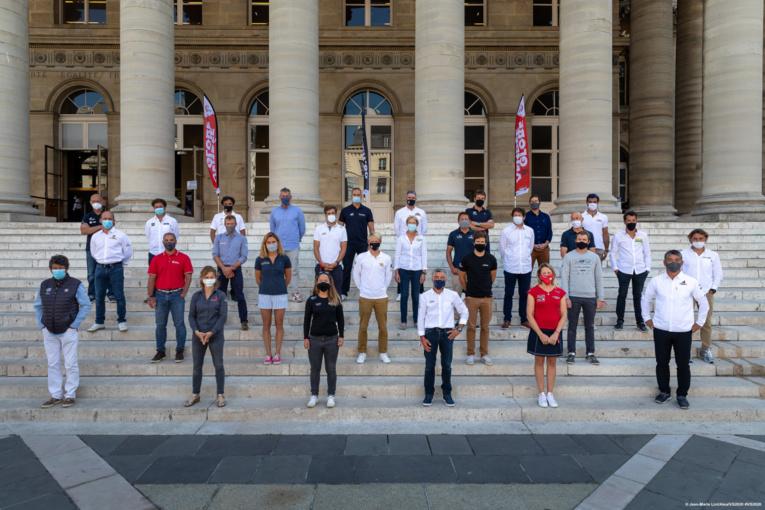 Les skippers lors de conférence de presse de lancement, le 17 septembre 2020.  © Jean-Marie Liot/Alea/VG2020