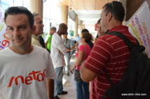 Nicolas Broséus, le secrétaire territorial Sneeta-FO Polynésie lors de la manifestation au vice-rectorat, mercredi.
