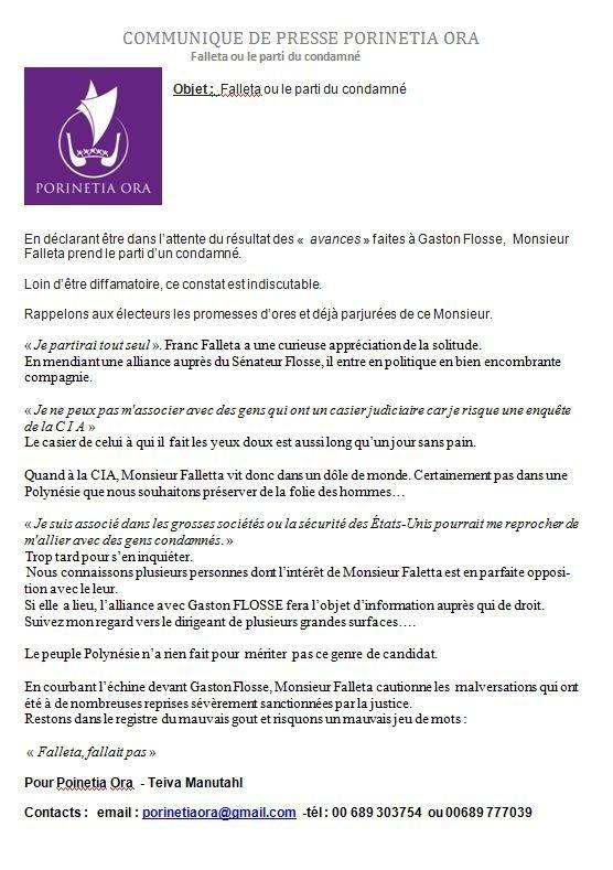 "Communiqué de Teva Manutahi: ""Falleta ou le parti du condamné"""