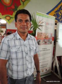 Ici, Nelson Tapare-Pin, directeur du CAGEST. Photo prise lors du premier forum de la création d'entreprise de Mataiea le 23 janvier dernier.