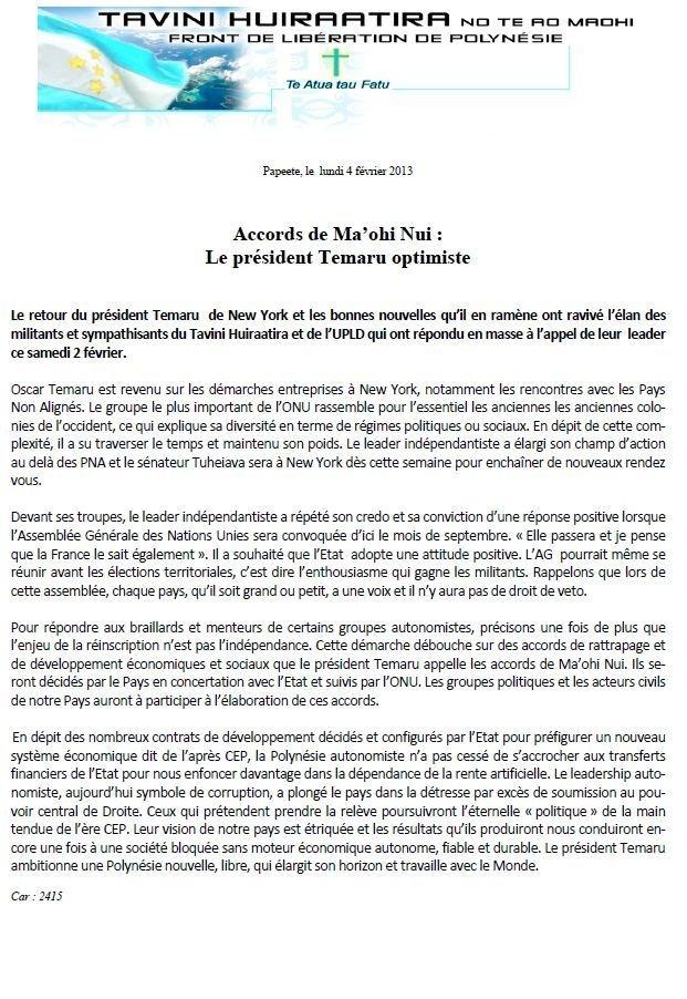 "Communiqué du Tavini: ""Accords de Maohi Nui"""