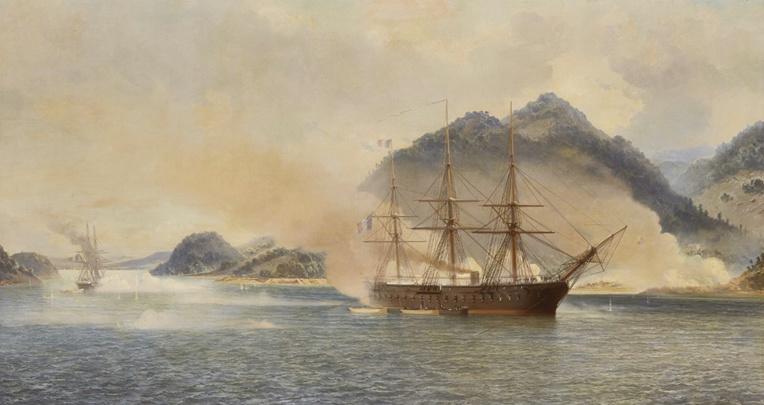 A bord du Dupleix, Bergasse du Petit-Thouars s'illustra sur les côtes asiatiques, en Chine et au Japon. Ici une représentation de la bataille de Shimonoseki.
