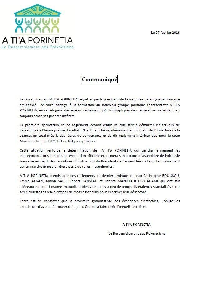 """Communiqué de A Ti'a Porinetia : """"l'Assemblée fait barage à la formation du nouveau groupe"""""""