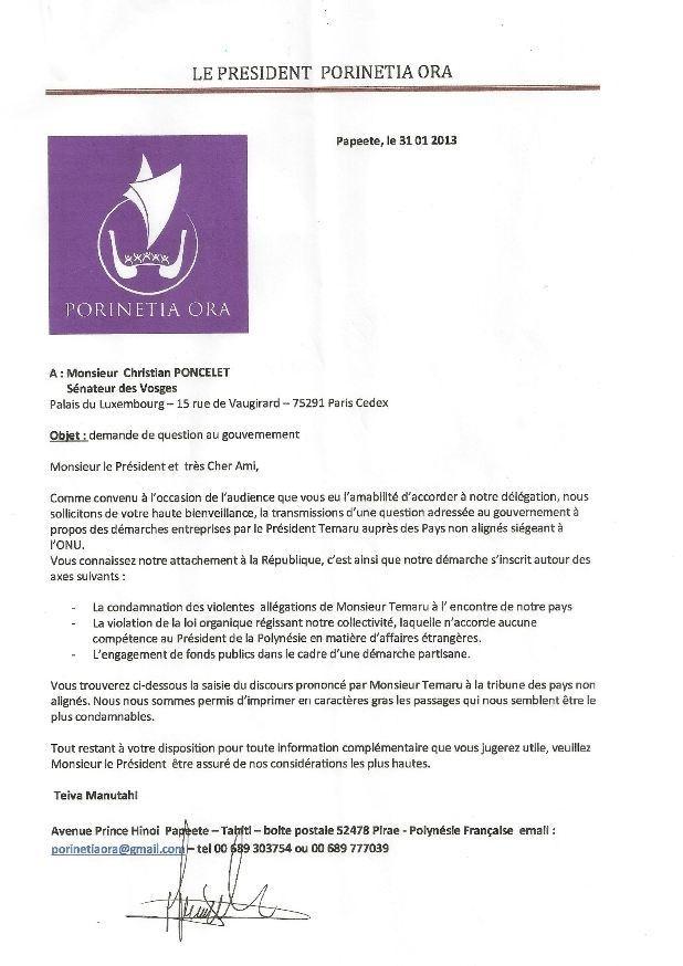 Porinetia Ora écrit au Sénateur Christian Poncelet au sujet des démarches d'Oscar Temaru