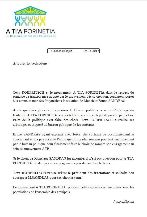 A Tia Porinetia annonce le départ de Bruno Sandras