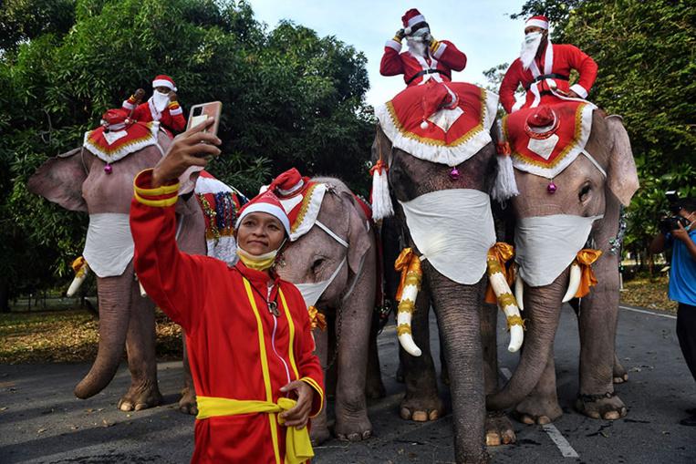 Thaïlande: des éléphants en père Noël distribuent des masques dans une école