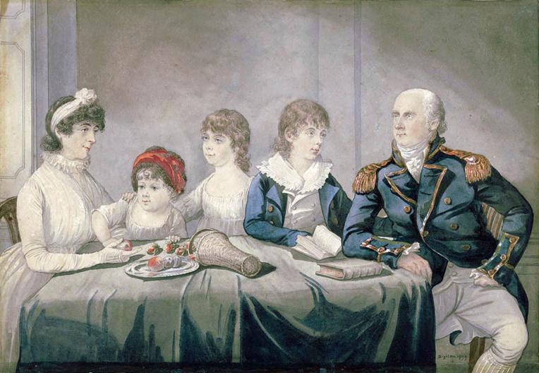 La famille King: Philip Gidley et Anna Josepha King, avec trois de leurs enfants, Elizabeth, Anna Maria and Phillip Parker (1799).