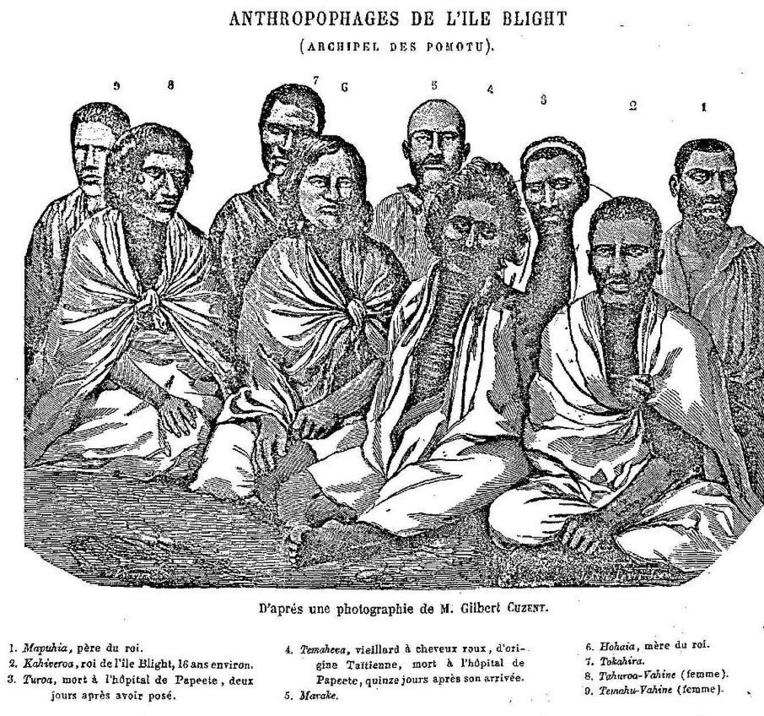 D'après une photo de Gilbert Cuzent, voici les adultes cannibales de Tematangi, tels qu'ils apparaissent dans les publications où le drame est évoqué, notamment le Mémorial polynésien.