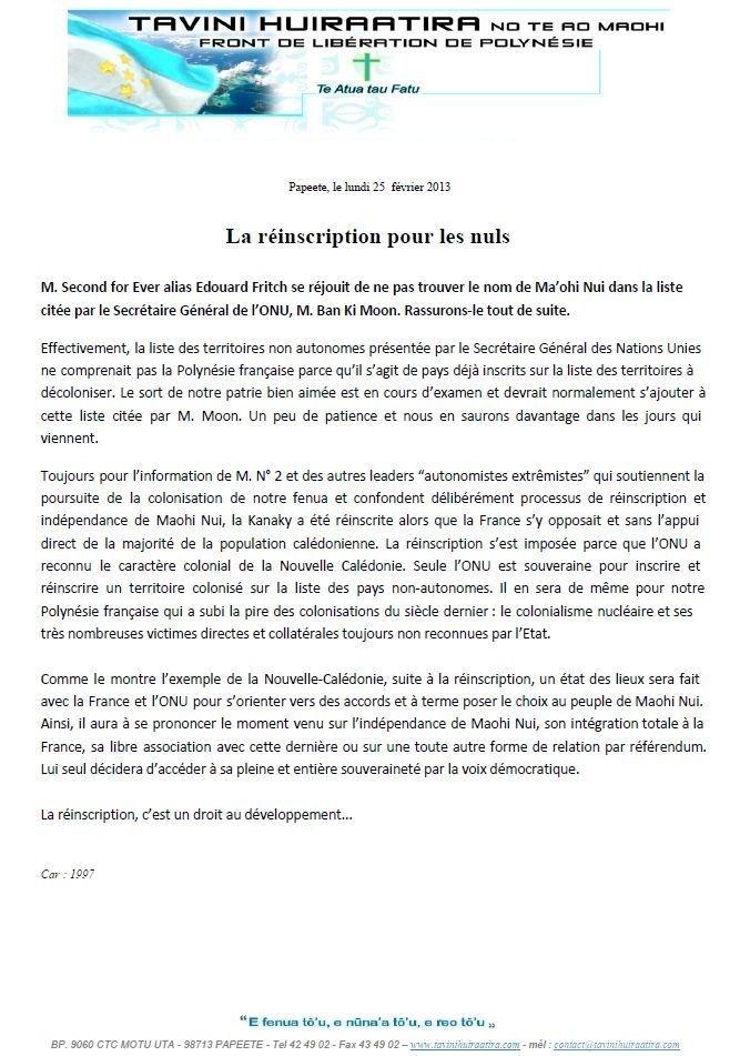 """Communiqué du Tavini: """"La réinscription pour les nuls"""""""